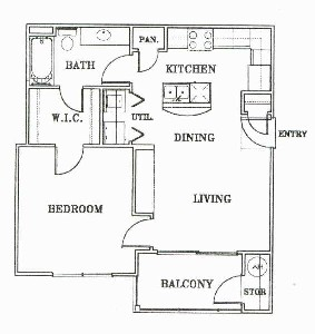 640 sq. ft. A1-NAPA floor plan