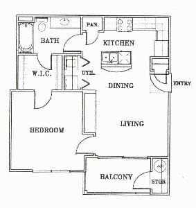 640 sq. ft. A1-Napa floor plan