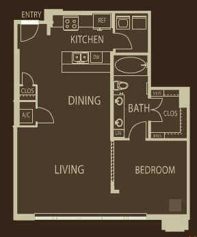 959 sq. ft. A3 floor plan