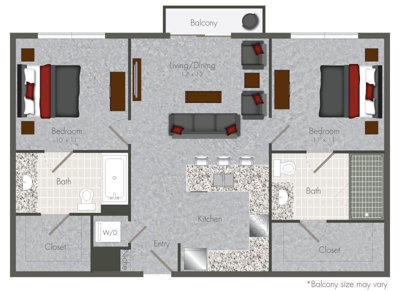 878 sq. ft. 2 floor plan