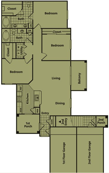 1,385 sq. ft. FG1 floor plan