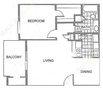 616 sq. ft. 1B1 floor plan