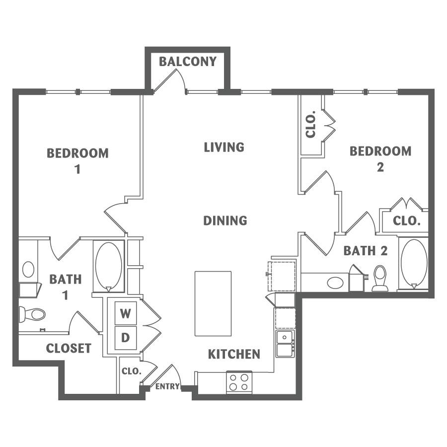 1,082 sq. ft. B2 floor plan