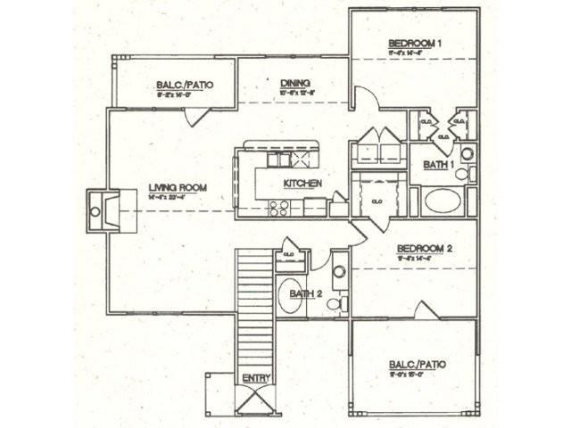 1,344 sq. ft. C1 floor plan