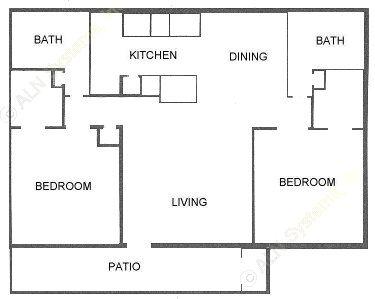 955 sq. ft. D floor plan