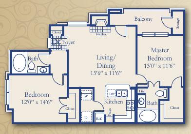 1,024 sq. ft. Lantana floor plan