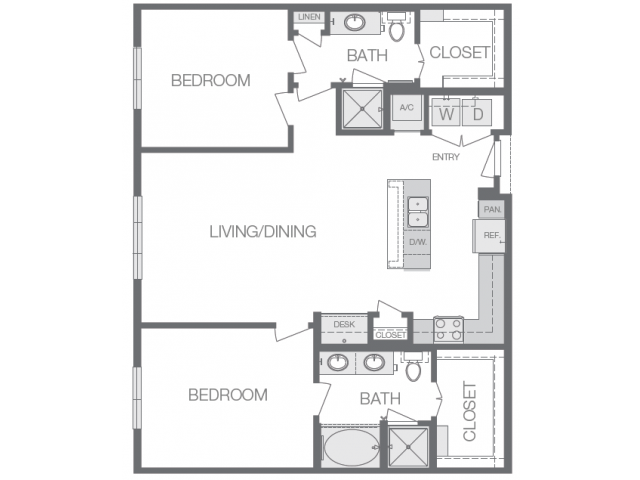 1,189 sq. ft. to 1,265 sq. ft. M floor plan