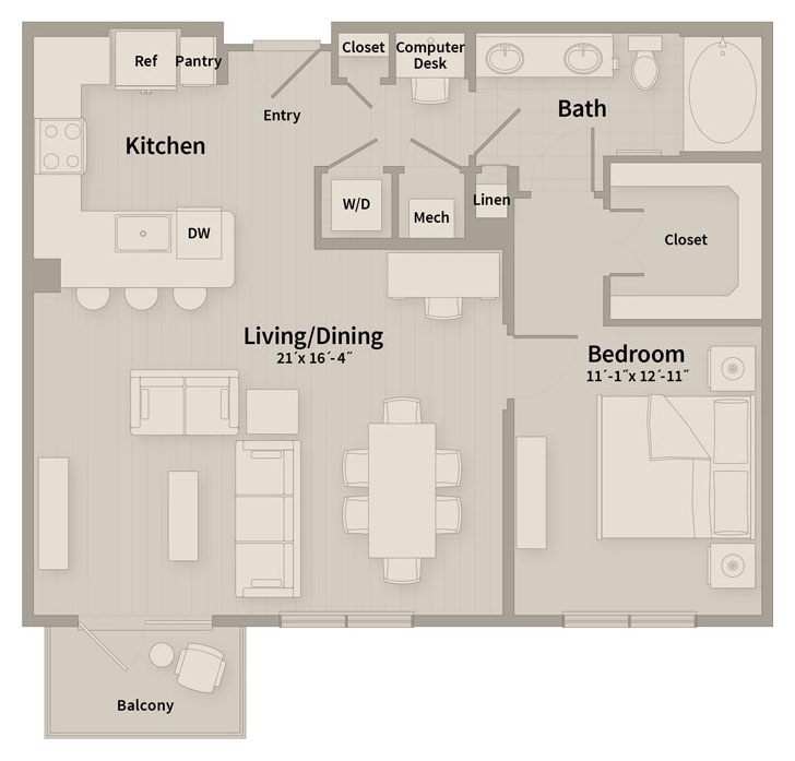 889 sq. ft. B2 floor plan