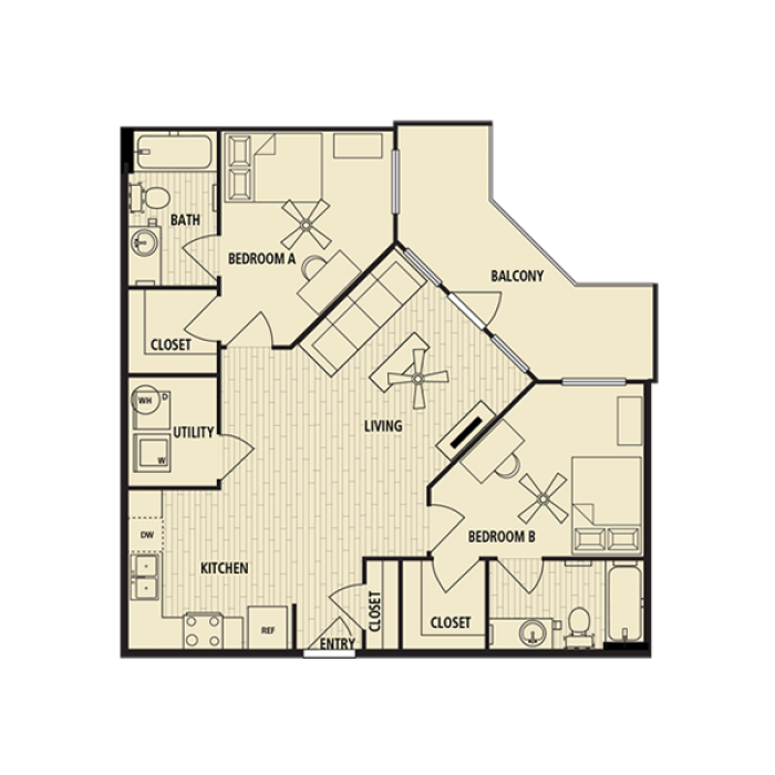 1,016 sq. ft. B2 floor plan
