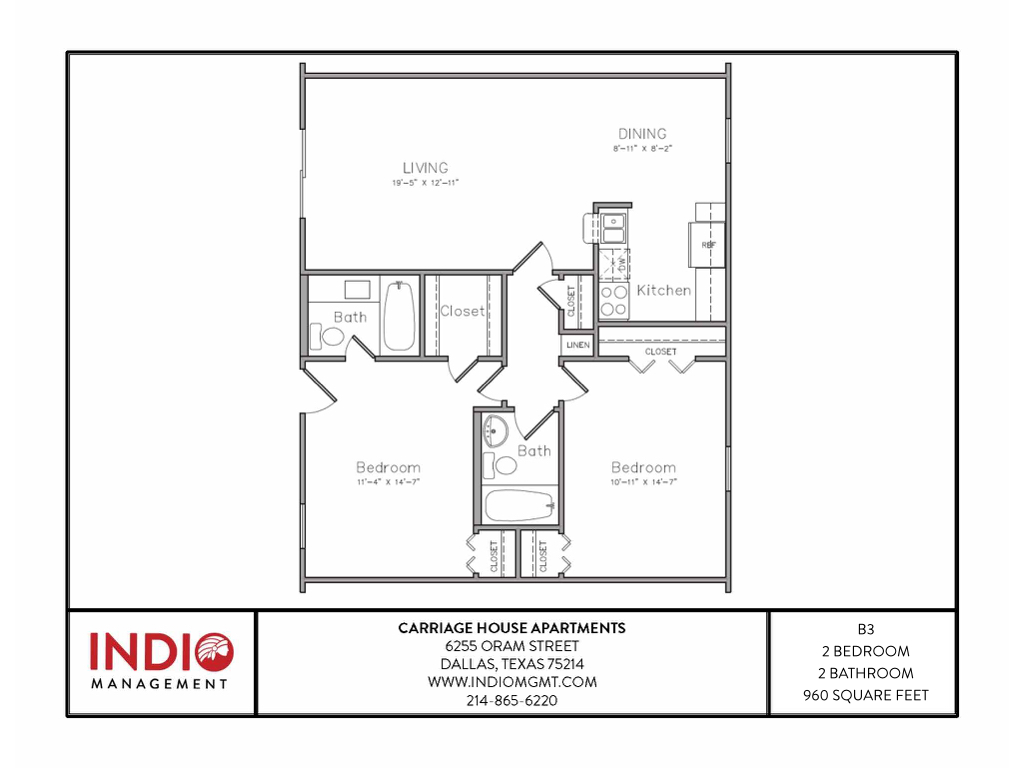 827 sq. ft. B3 floor plan