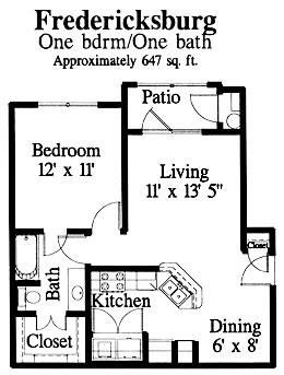 647 sq. ft. Fredericksburg floor plan