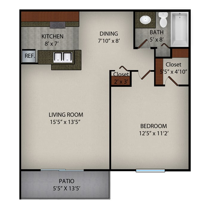 676 sq. ft. Carrington floor plan