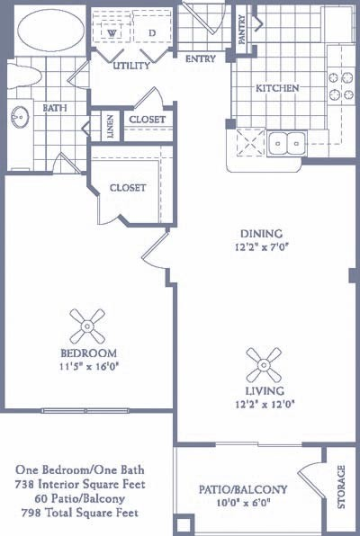 738 sq. ft. A3 floor plan