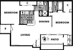 895 sq. ft. H floor plan