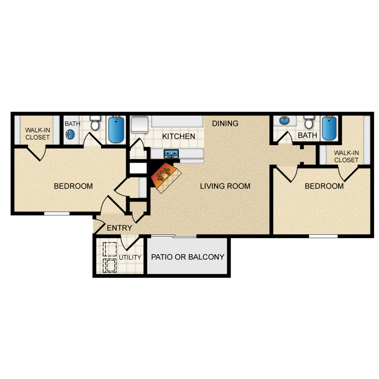 917 sq. ft. B2/Mkt floor plan
