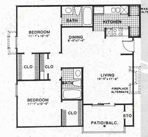 932 sq. ft. B1 floor plan