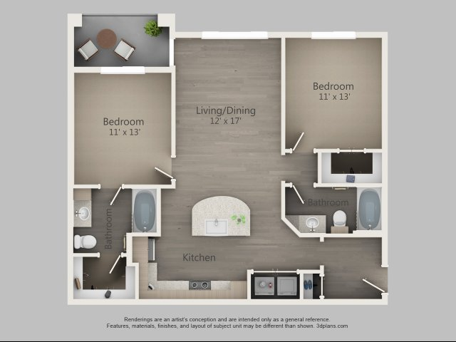 1,025 sq. ft. Elm floor plan