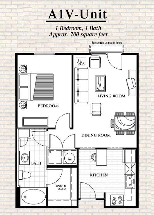 700 sq. ft. to 774 sq. ft. A1 floor plan