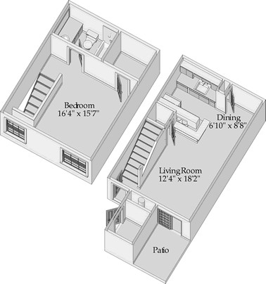 757 sq. ft. Trinity/Loft Style floor plan