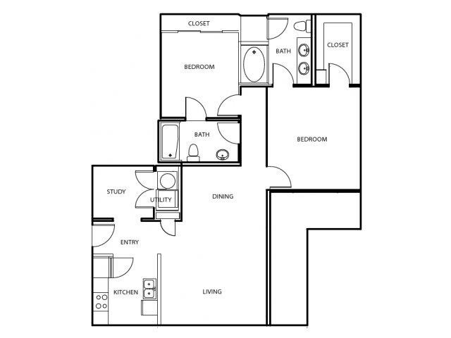 1,148 sq. ft. B2-E floor plan