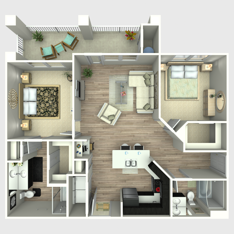 976 sq. ft. B2G floor plan