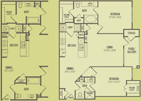 1,091 sq. ft. B!/Pinehurst floor plan