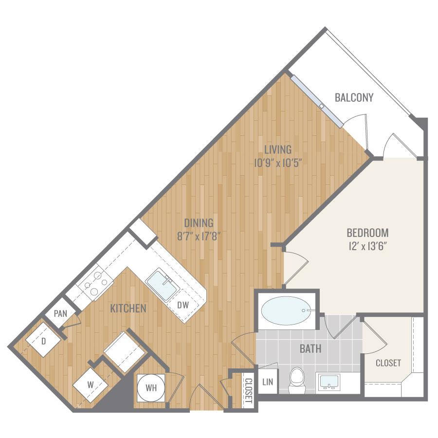 734 sq. ft. A6 floor plan