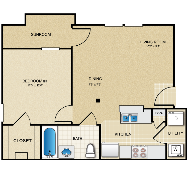 640 sq. ft. Sunset floor plan