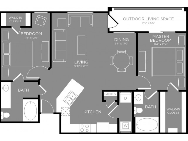 1,045 sq. ft. Cosmopolitan floor plan