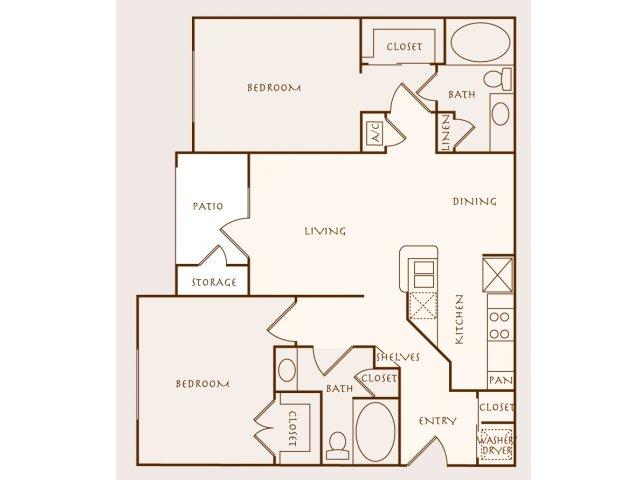 1,045 sq. ft. Maranti floor plan
