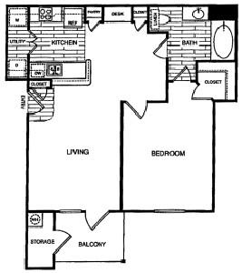 755 sq. ft. A3 floor plan