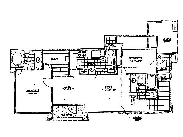 980 sq. ft. F 60 floor plan