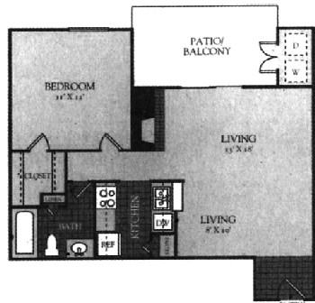 660 sq. ft. 50% floor plan