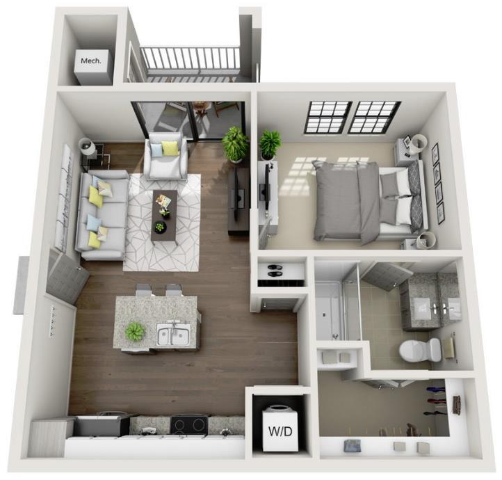 648 sq. ft. A2.1 floor plan