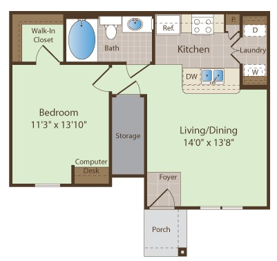 659 sq. ft. JOPLIN floor plan