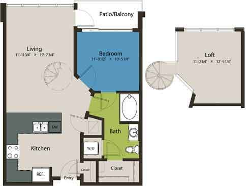 883 sq. ft. A1N-L1 floor plan