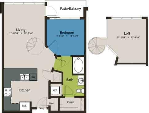 883 sq. ft. A1N-L1 floor plan