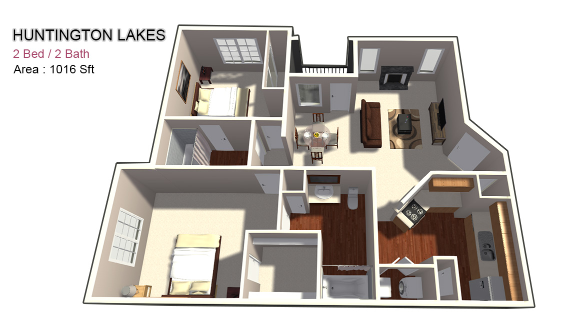 1,016 sq. ft. 2X2 floor plan