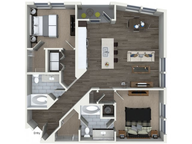 1,193 sq. ft. B2.2 floor plan