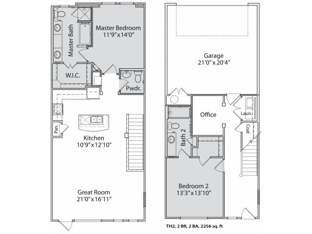 1,559 sq. ft. Th2 floor plan