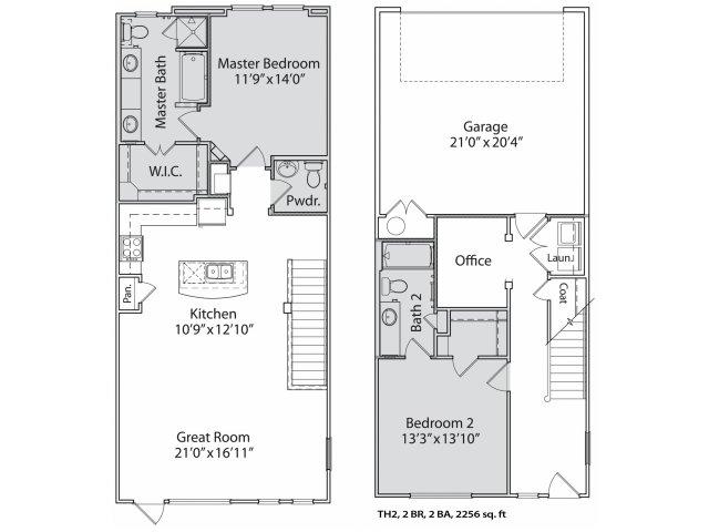1,559 sq. ft. Th2 floor plan