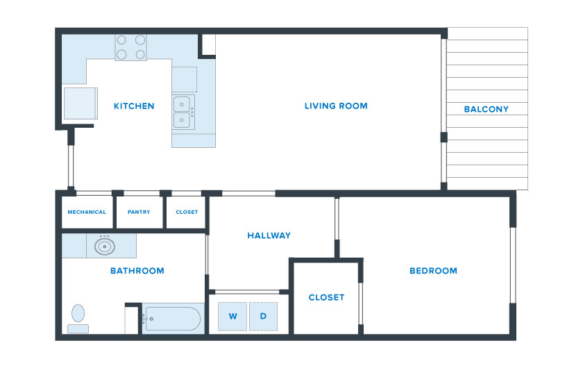 850 sq. ft. Lonestar floor plan
