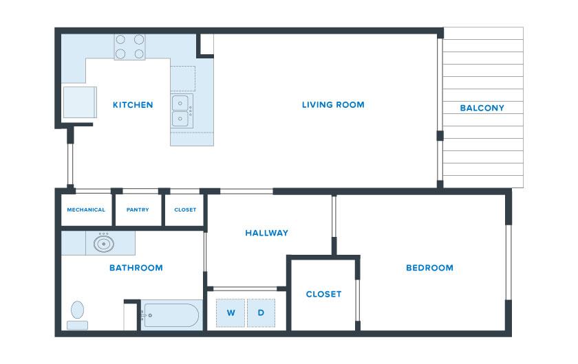 850 sq. ft. Lonestar floor plan