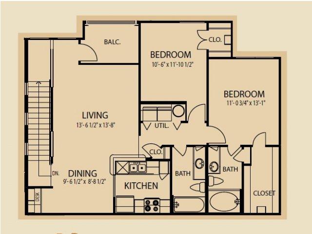 1,077 sq. ft. B3 floor plan