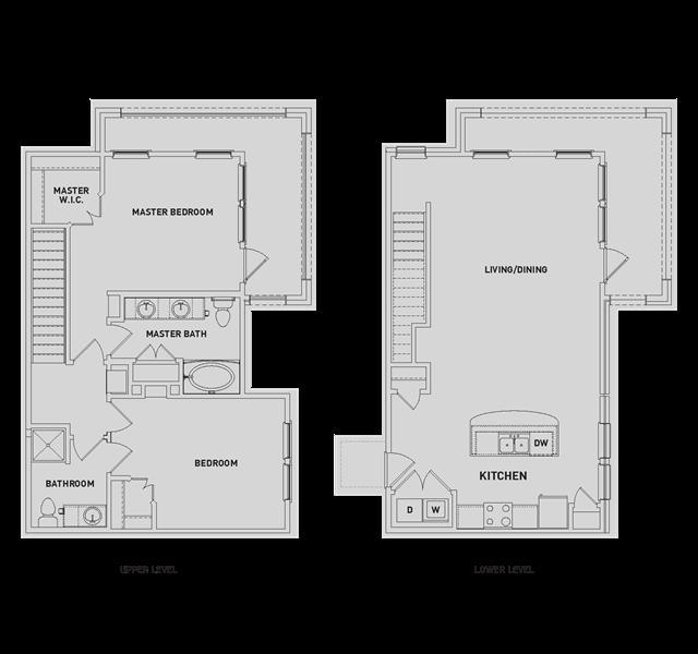 1,302 sq. ft. BB1-TH floor plan