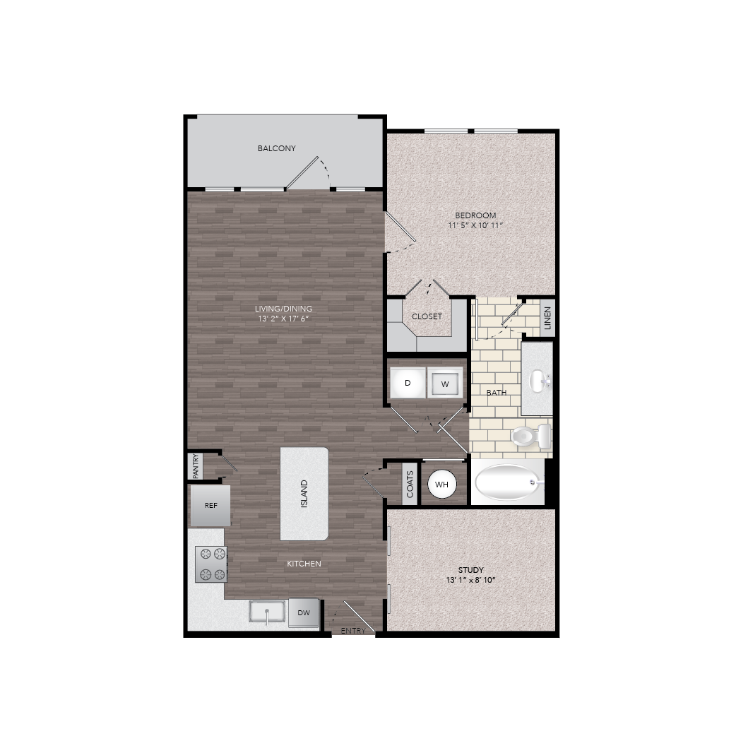 855 sq. ft. A5 floor plan