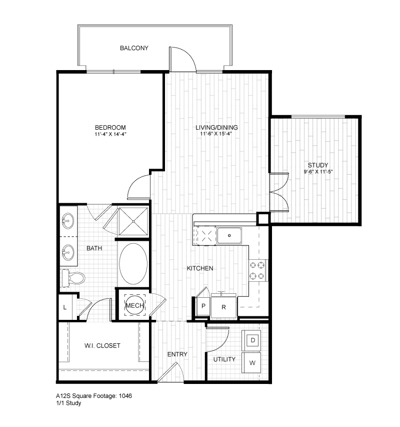 1,046 sq. ft. A12S floor plan