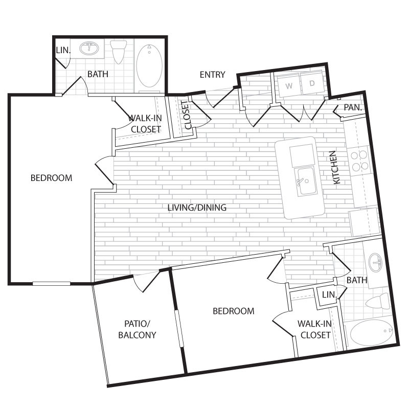 1,022 sq. ft. BS1 floor plan