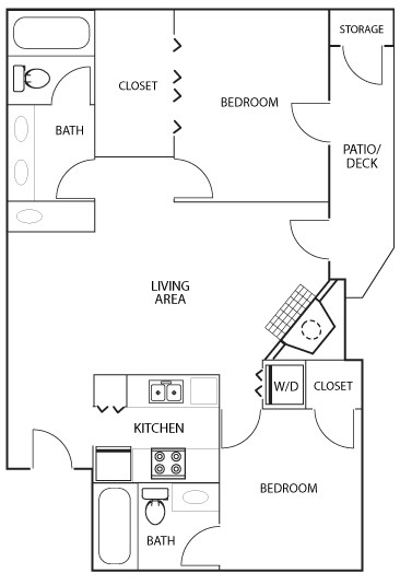 1,000 sq. ft. B4 floor plan
