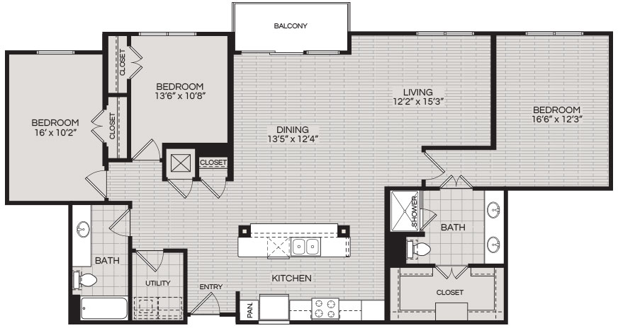 1,637 sq. ft. C1 floor plan